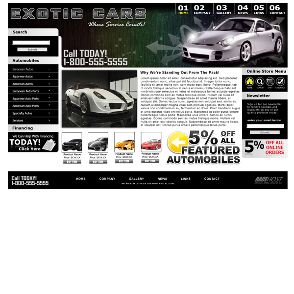 Race Host HTML Website